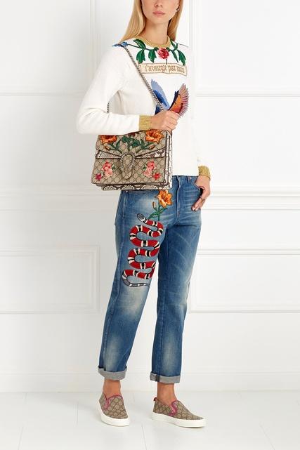 Гуччи джинсы с вышивкой 83