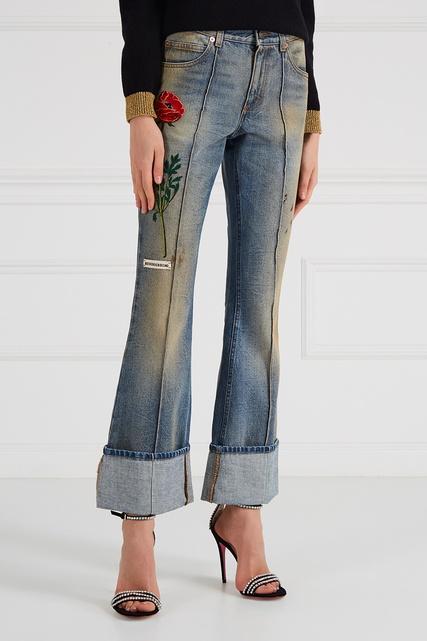 Гуччи джинсы с вышивкой 37