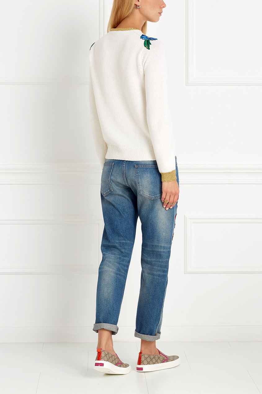 Гуччи джинсы с вышивкой 1