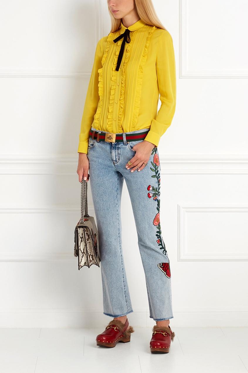 Гуччи джинсы с вышивкой 14