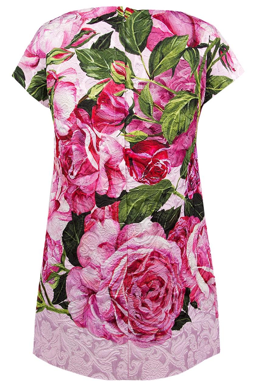 Платье с принтом розы