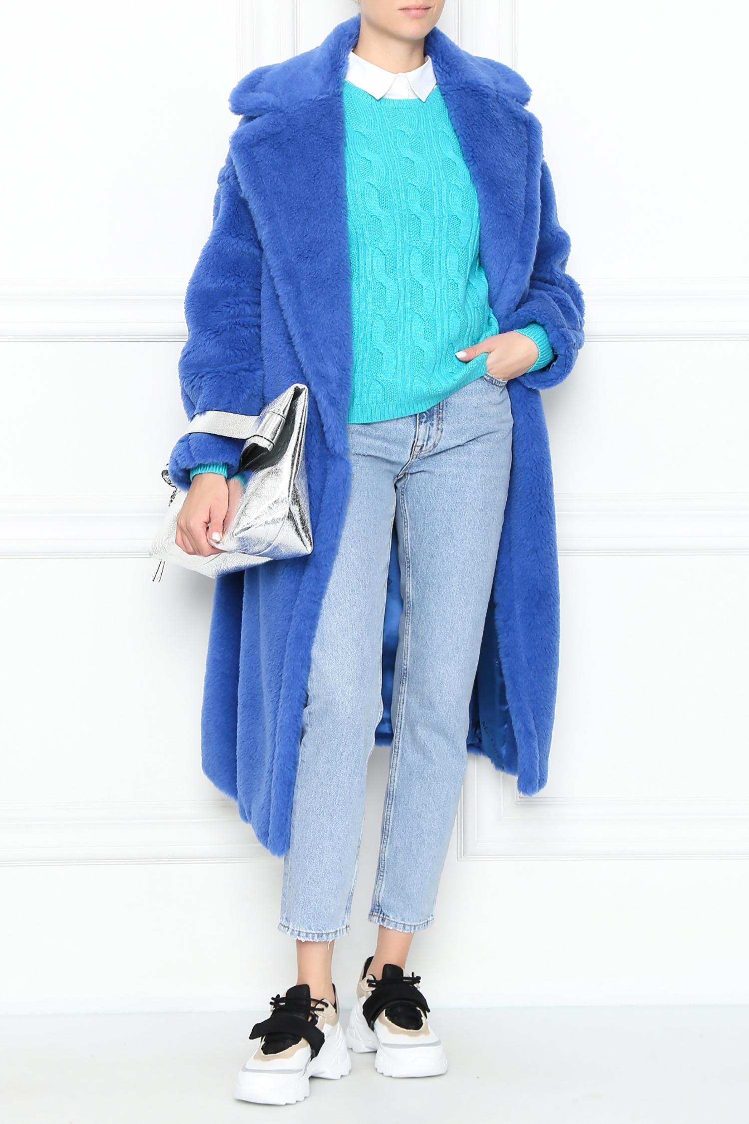 Синяя шуба из искусственного меха Teddy Bear Icon Max Mara – купить в интернет-магазине в Москве
