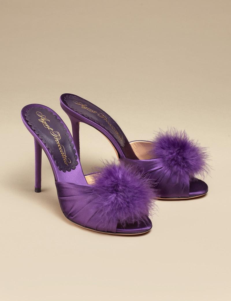 Туфли EliceОбувь<br>Новинка классического будуара от AP - атласные туфли на каблуке с кокетливым декором из перьев марабу. Туфли сливового оттенка из королевского шелкового атласа дополнены кружевной стелькой с фирменной надписью АР.<br><br>&amp;nbsp;<br><br>Высота каблука: 110 мм<br><br>Возраст: Взрослый<br>Размер unitSize=IT: 39<br>Цвет: None<br>Пол: Женское<br>Материал: 95% шелк 5% кожа