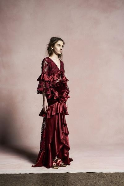 Шелковое платье с каскадными оборками Romance Was Born 141646356