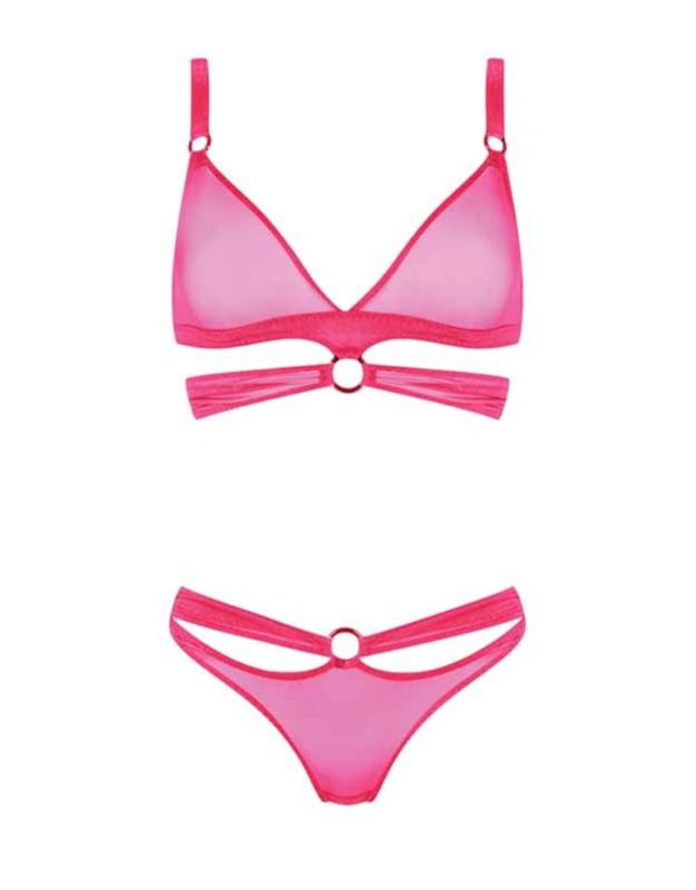 Бюстгальтер BarМягкая чашка<br>Октябрь - всемирный день борьбы с раком груди.<br>В этом месяце мы представляем коллекцию Bar в розовом цвете.<br>Эта коллекция создана в благотворительных целях и 10% с каждого комплекта будет передана в фонд борьбы с раком груди BCRF.<br><br>&amp;nbsp;<br><br>Прозрачный, гладкий и сексуальный комплект Bar - воплощение фатального очарования. Бюстгальтер из ярко-розовой блестящей микрофибры с мягкими треугольными чашками украшен розовыми металлическими кольцами. Ленты эластичной микрофибры под чашками также соединяются металлическим кольцом. Сочетайте с трусиками Bar.<br><br>Возраст: Взрослый<br>Размер AP: M (3 AP)<br>Цвет: розовый<br>Пол: Женское<br>Материал: 88% полиамид 12% эластан