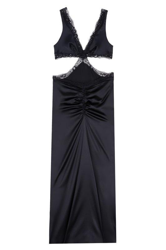 Платье MichelleЧерное белье<br>Бесстыдно чувственное платье Michelle выполнено из роскошного черного шелка.<br><br>Очаровательный силуэт в стиле 70-х, глубокое декольте, вырезы по бокам и оторочка французским кружевом ручной работы произведут незабываемое впечатление. Мягкий шелковый лиф с треугольными чашками застегивается сзади на маленькие сатиновые пуговицы. Вырезы по бокам плавно переходят в глубокое декольте на спине. На ягодицах платье слегка присборено. Образ завершает невесомый черный шлейф.<br><br>Элегантное платье Michelle подойдет и для вечернего выхода, и для ужина при свечах дома. Оно выглядит еще более соблазнительно в сочетании с комплектом цвета охры Leisa.<br><br>Возраст: Взрослый<br>Размер: M (3 AP);S (2 AP)<br>Цвет: Черный
