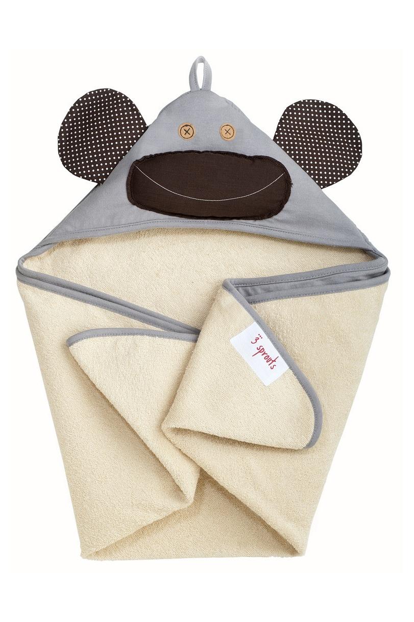 Серое полотенце с капюшоном