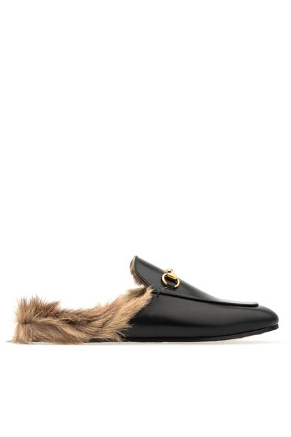 Кожаные слиперы с меховой отделкой Gucci - Gucci, Обувь, Обувь Gucci, вид 1  ... 4aaa9c12092