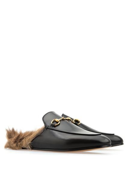 ... Кожаные слиперы с меховой отделкой Gucci - Gucci, Обувь, Обувь Gucci,  вид 3 ... ad017007ecd