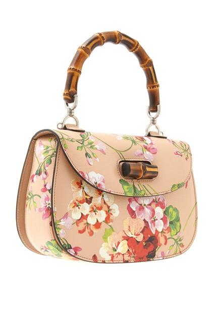 78501cc261b8 ... Кожаная сумка Bamboo Classic Blooms Gucci - Gucci, Сумки, Сумки Gucci,  вид 4 ...
