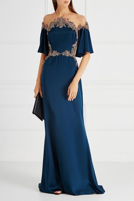 d4e2f881f50 Шелковое платье с вышивкой Marchesa – купить в интернет-магазине в ...