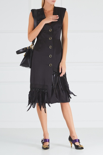 ... Атласное платье с перьями Prada - Prada, Одежда, Одежда Prada, вид 3 ... b94c4424b96