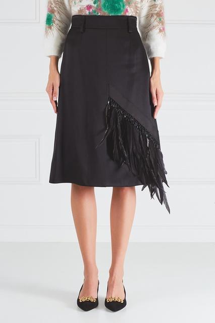 Юбка с перьями Prada - Черная однотонная юбка от Prada сшита из ... 91998eb21bf