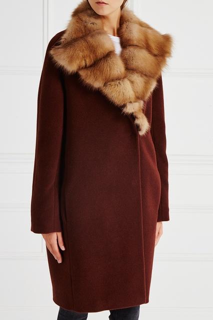 Пальто из кашемира с воротником из меха куницы DREAMFUR – купить в ... 0df81e44ff320