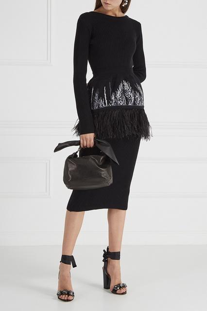 2d4e2624f91 Вязаное платье с баской 7КА – купить в интернет-магазине в Москве