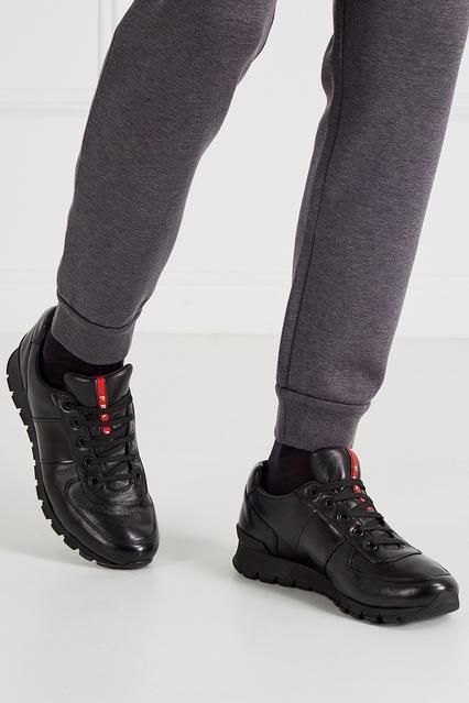 1b68cff5 ... Черные кроссовки из кожи Prada - Prada, Мужское, Мужское Prada, вид 3  ...