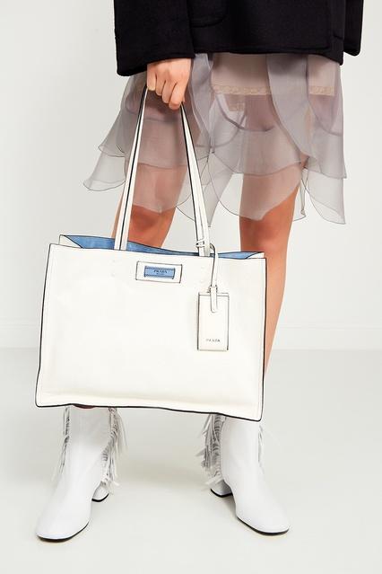 9b40735d509d ... Белая кожаная сумка Etiquette Prada - Prada, Женское, Женское Prada,  вид 3 ...