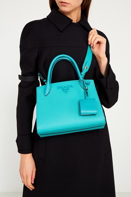 582510398711 ... Бирюзовая кожаная сумка Monochrome Prada - Prada, Женское, Женское Prada,  вид 3 ...