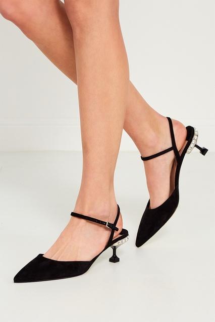 ... Черные туфли с кристаллами на каблуке Miu Miu - Miu Miu, Обувь, Обувь  Miu ... 249b30b86ee
