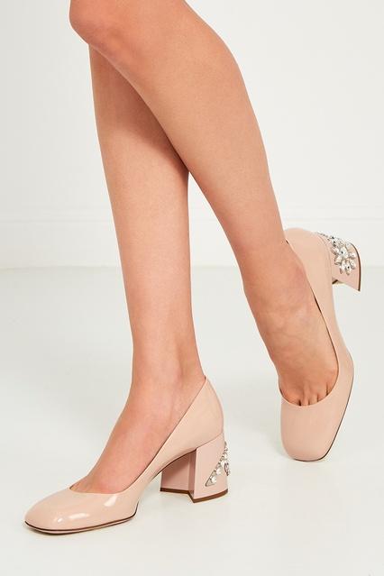... Бежевые туфли с кристаллами на каблуке Miu Miu - Miu Miu, Обувь, Обувь  Miu ... a7838f46b8d