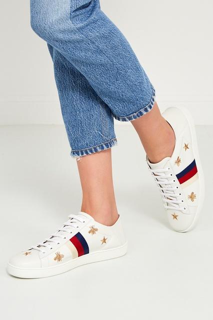 ... Белые кожаные кеды с вышивкой Ace Gucci - Gucci, Обувь, Обувь Gucci,  вид ... 3af2745f518