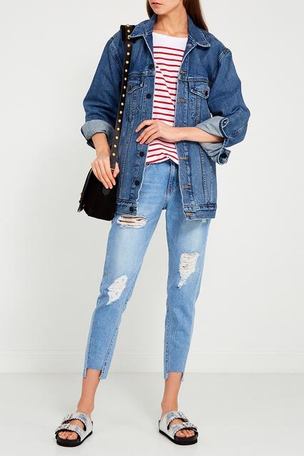 c82eb2b0acb Голубые потертые джинсы boyfriend SJYP – купить в интернет-магазине ...