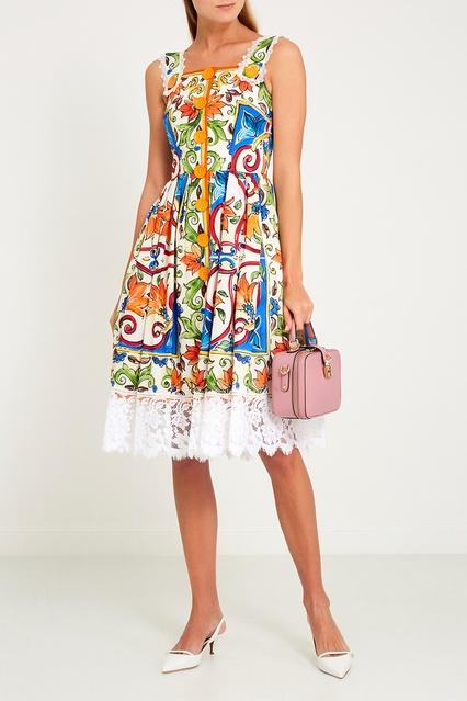49a9e1b35c8aa8a ... Платье из хлопка с принтом «майолика» Dolce&Gabbana - Dolce&Gabbana,  Женское, Женское Dolce&Gabbana ...