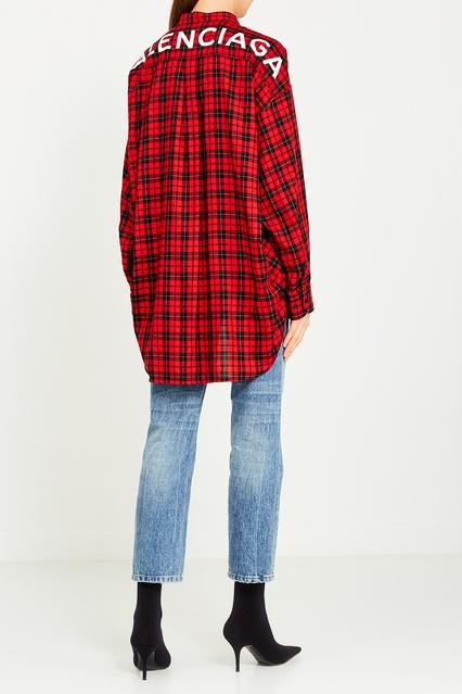 af18e606d74 Удлиненная рубашка в клетку Balenciaga – купить в интернет-магазине ...