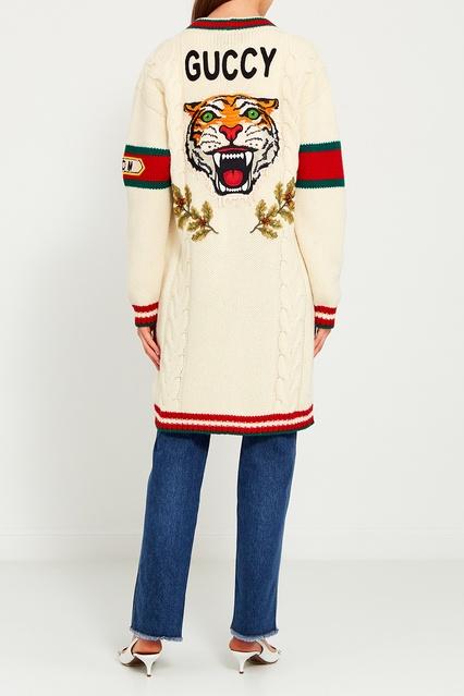 ... Шерстяной вязаный кардиган с косами Gucci - Gucci, Одежда, Одежда Gucci,  вид 4 ... 4705c0e1f60