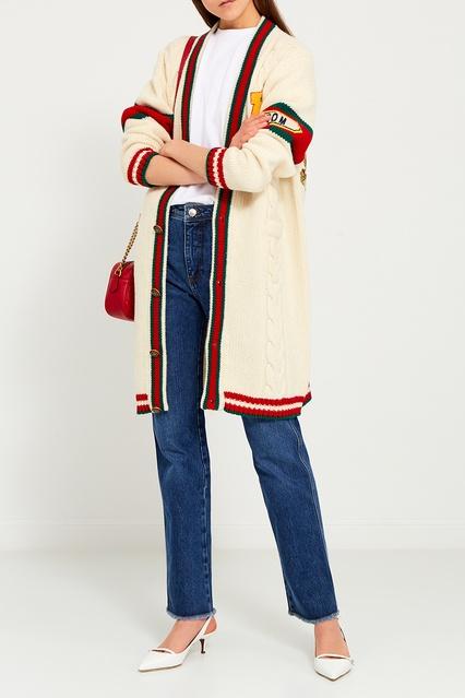 ... Шерстяной вязаный кардиган с косами Gucci - Gucci, Одежда, Одежда Gucci,  вид 3 ... f57739c33d1