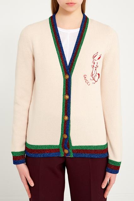 ... Шерстяной кардиган с нашивкой Gucci - Gucci, Одежда, Одежда Gucci, вид  4 ... aa35cea83f1