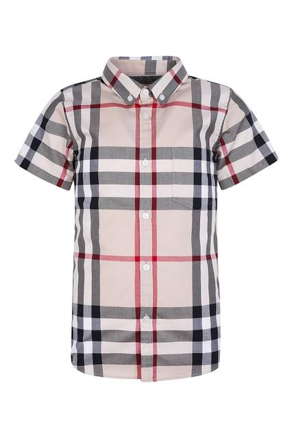 6d6a149a959 Рубашка в клетку с короткими рукавами Burberry Kids - Burberry Kids
