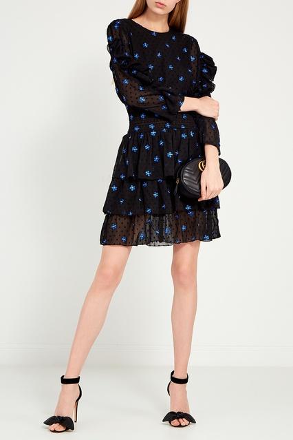 a2f8077d3a2 Черное платье с оборками и вышивкой Maje – купить в интернет ...