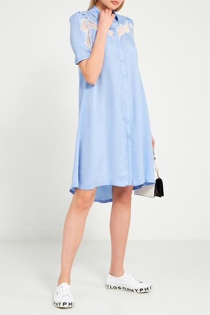 cb546218e0c Платье-рубашка с кружевом Sandro – купить в интернет-магазине в Москве