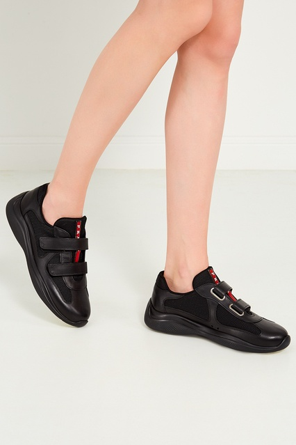 54ad1f41 ... Черные кроссовки из кожи и текстиля Prada - Prada, Женское, Женское  Prada, вид ...