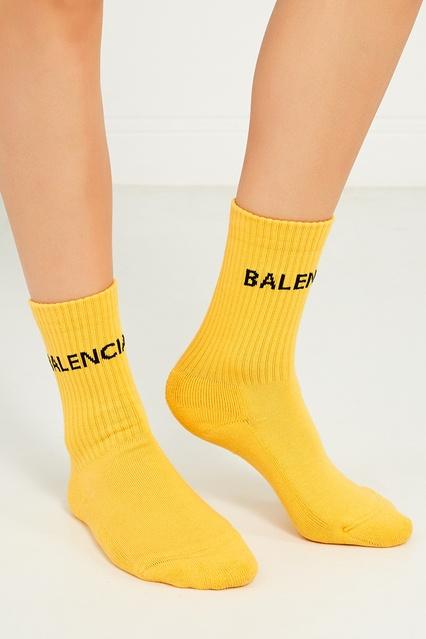 1802d7a50164 Желтые носки из хлопка с логотипом Balenciaga