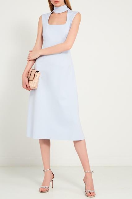 f734669f4c7 Голубое платье с воротником-стойкой ERMA – купить в интернет ...
