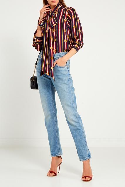 e4a23071252 Шелковая блузка с принтом Gucci – купить в интернет-магазине в Москве