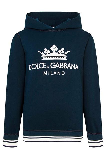 f77ba74f923 Темно-синее худи с контрастным логотипом Dolce Gabbana Children -  Dolce Gabbana Children