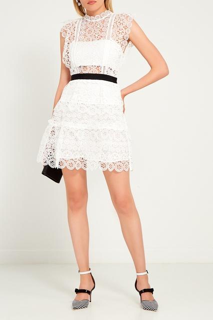 4c84f5c512f Белое платье из кружева Self-Portrait – купить в интернет-магазине в ...