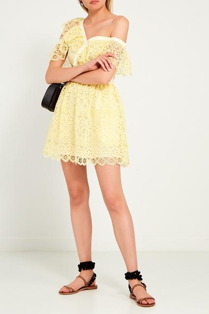 95fb3094d94 Желтое платье-мини из кружева Self-Portrait – купить в интернет ...