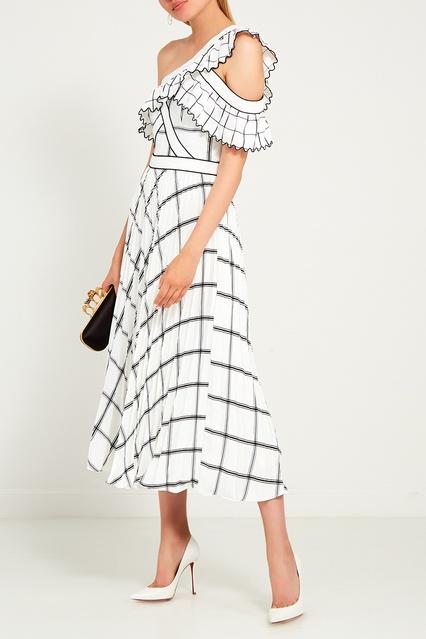 1a630b4d50c Белое платье-миди в клетку Self-Portrait – купить в интернет ...