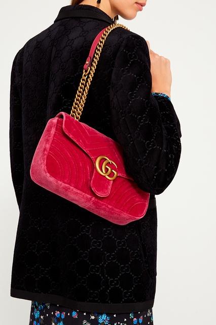 4bc643e3a016 ... Розовая бархатная сумка GG Marmont Gucci - Gucci, Женское, Женское  Gucci, вид 3 ...