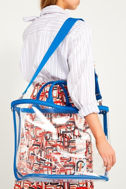 58dfd94ca5d0 ... Прозрачная сумка с логотипом Prada - Prada, Женское, Женское Prada, вид  3 ...