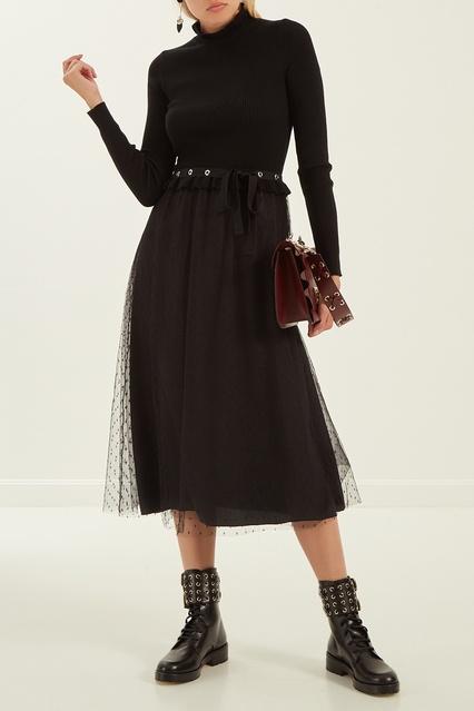 87fde1e1da3 Шерстяное платье с оборками Red Valentino – купить в интернет ...