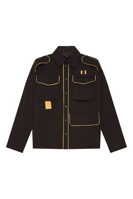 9437b30106960ee Черная рубашка с контрастной отделкой Moonrise Yuzhe Studios - Yuzhe  Studios, Мужское, Мужское Yuzhe ...