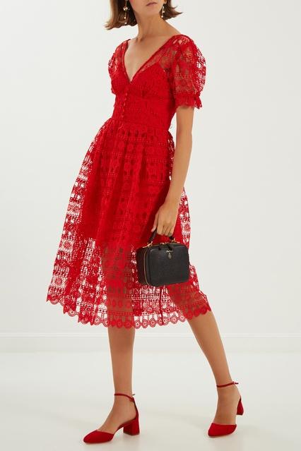 6df1803e629 Красное кружевное платье Self-Portrait – купить в интернет-магазине ...