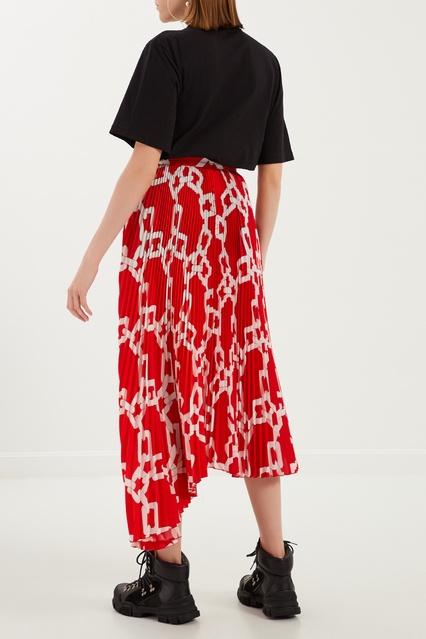 9a22e2b9b95 Красная плиссированная юбка с принтом MSGM – купить в интернет ...
