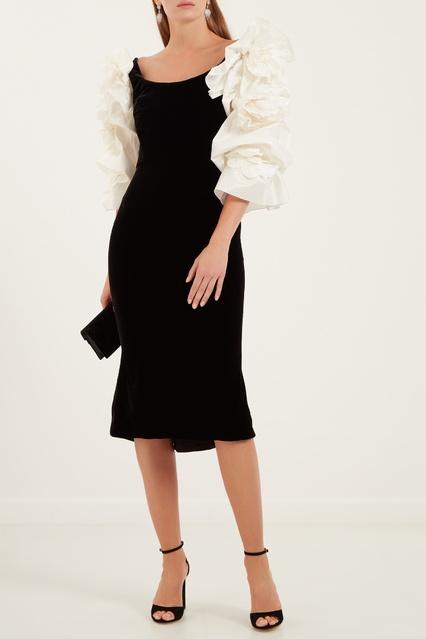 f04b97619c0 Черное платье с белыми рукавами Marchesa – купить в интернет ...