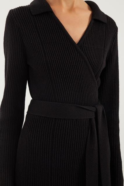 51532471e3181ee ... Черное трикотажное платье на запах LAROOM - LAROOM, Женское, Женское  LAROOM, вид 4